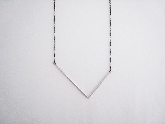 Asymmetrical V necklace,  sterling silver