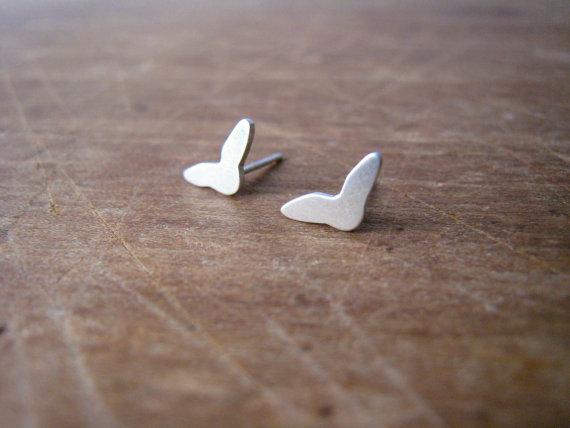 Tiny messengers stud earrings,  sterling silver