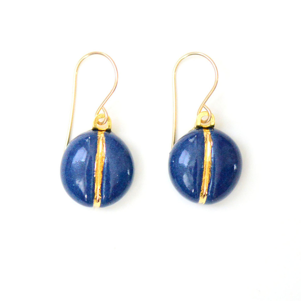 Navy Navigation Earrings,  22k gold, porcelain, $74