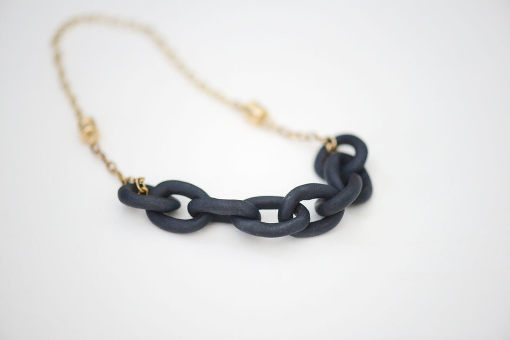 Harbor Noir Necklace-to-Bracelet , porcelain, 14k gold, $196, $150 for bracelet only