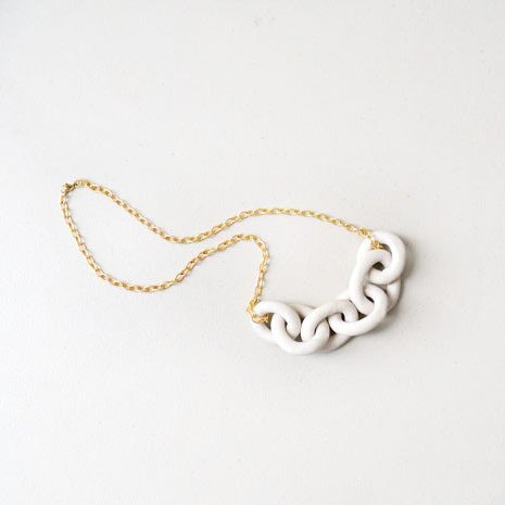 Harbor Chain Necklace,  porcelain, 14k gold, $196