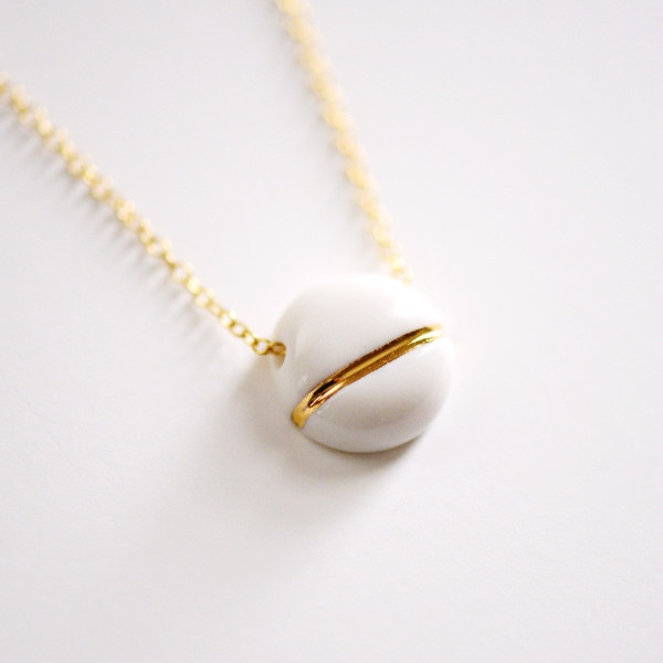 Small Buoy Charm Necklace,  porcelain, 22k gold, $92