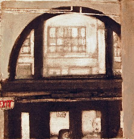 "Arch Harmony (5/100), collagraph, silk aquatint with acrylic,10"" x 8"", $175"