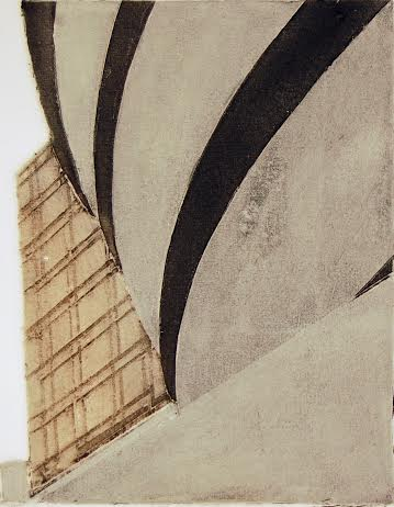 "Guggenheim (5/100) , collagraph, silk aquatint with acrylic, 10"" x 8"", $175"