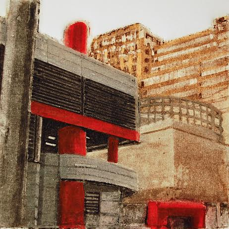 "Red Harmony (3/100),  collagraph, silk aquatint with acrylic, 14"" x 11"" framed, $300"