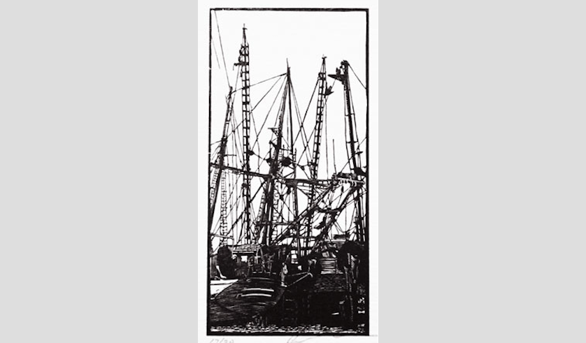 "Rocky Neck Railway (17/20),  wood engraving print, 4¾"" x 2¼"" sold"