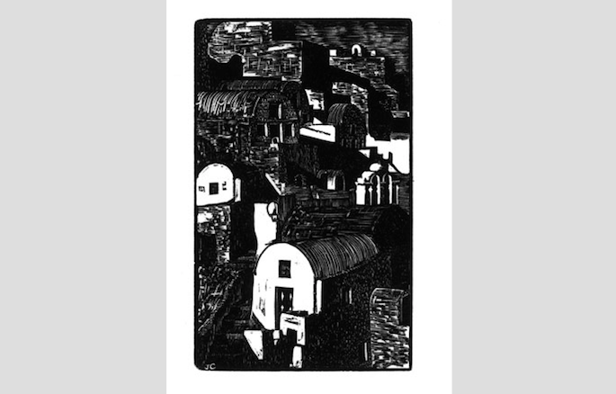 "City (A/P), wood engraving print, 3½"" x 2¼"" $85"