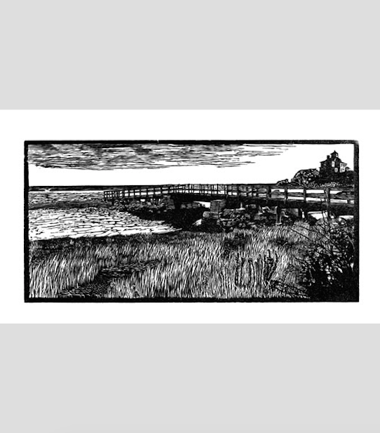 "Good Harbor (7/25),  wood engraving print, frame: handmade ebonized white oak framed: 14"" x 16"" $250"