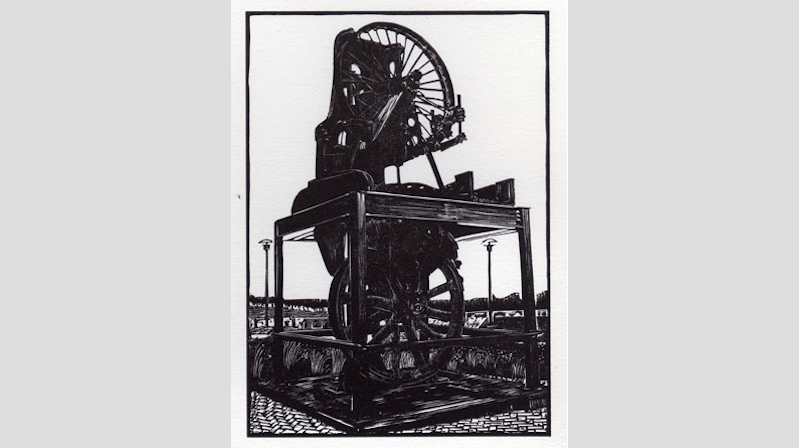 "Navy Yard Bandsaw (A/P),  wood engraving print, 4¾"" x 3¼"" $85"