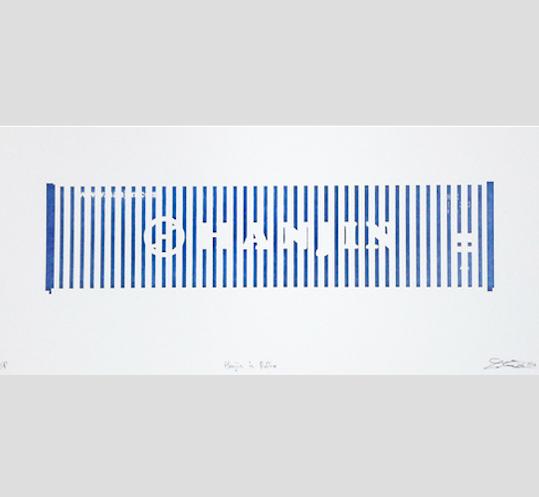 "Hanjin in Reflex,  relief print, 9"" x 20""  $300"