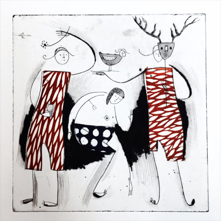 "Deer Mask,  etching, drypoint, chine-collé, 15"" x 12¼"" framed $325"