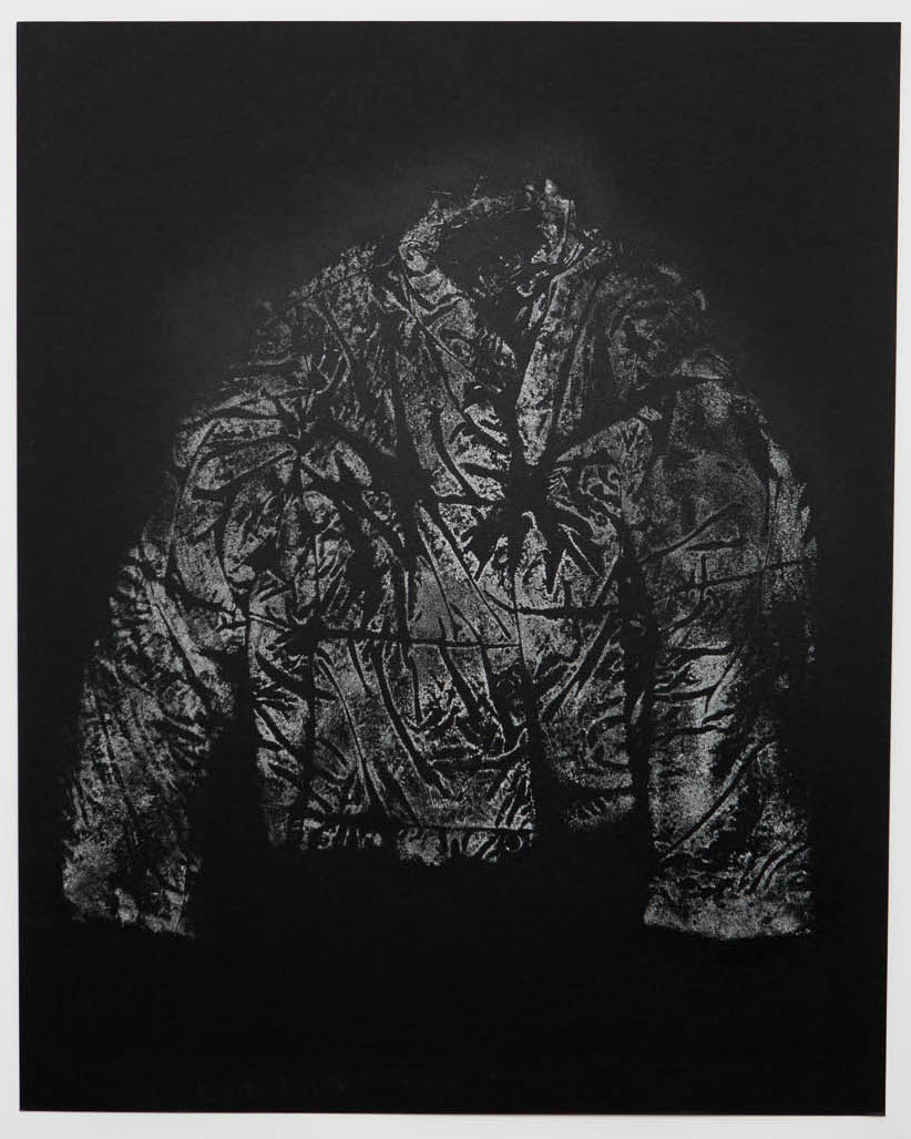 "Sifted (jacket) , monoprint with flour, vaseline, fixative, on paper, 24"" x 36"""