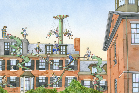 "The Roof Top Playgrounds of Beacon Hill,   watercolor on paper, 12"" x 18"", $2,200   archival digital print, 6¾"" x 10"", $130   also available as 12"" x 18"" print"