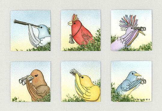 "Birdwatchers II,  watercolor on paper, 6 panels in a 13"" x 17"" frame , $750"