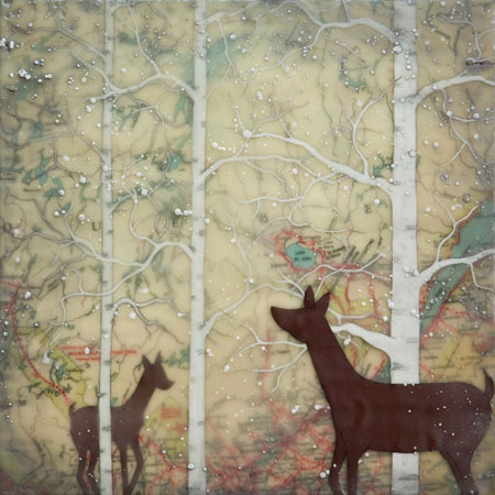 "Doe and Fawn,   gouache and encaustic on rice paper mounted on board, 12"" x 12"""