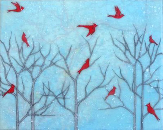 "Cardinal Party,   gouache and encaustic on rice paper mounted on board, 8"" x 10""original sold, print with encaustic on board available, 4"" x 4"", $35"