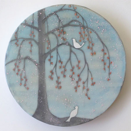 "Willow Birds,   gouache on rice paper, vintage music sheets, encaustic mounted on board, 8"" diameter,   $300"