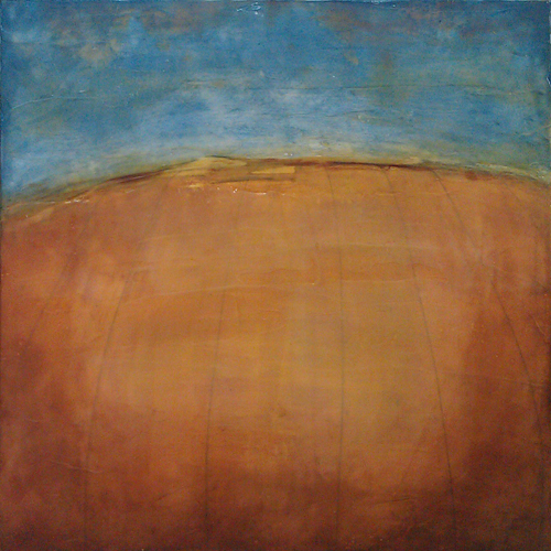 "Open Field,  encaustic on board, 24"" x 24"""