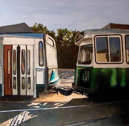 Lake Street Morning , oil on board,15x15 framed, $375