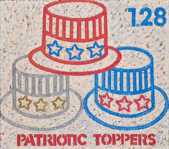 "Patriotic Toppers,   oil on canvas, 14"" x 16"""