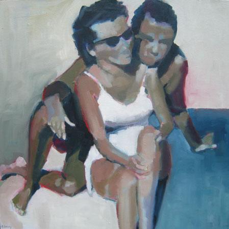 """Beach Couple III, oil on canvas,24"""" x 24""""$1,800"""