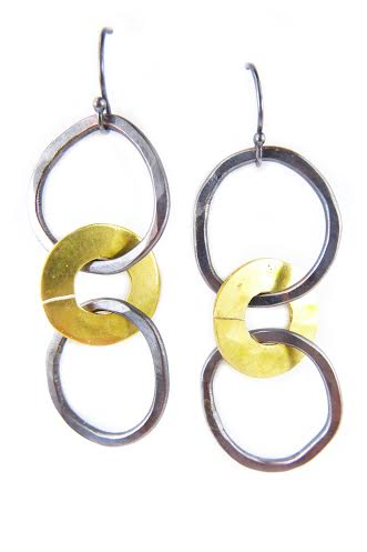 Scatter earrings,  copper, brass, $36
