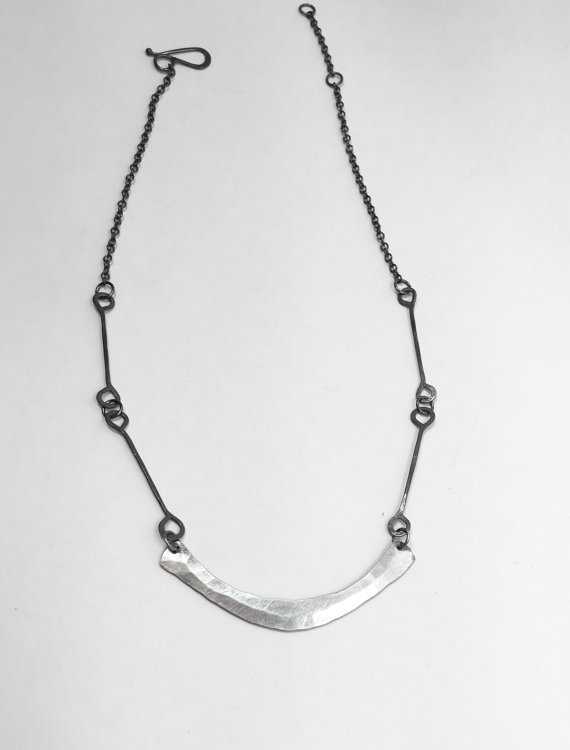 Forged crescent choker silver necklace , sterling silver, $150