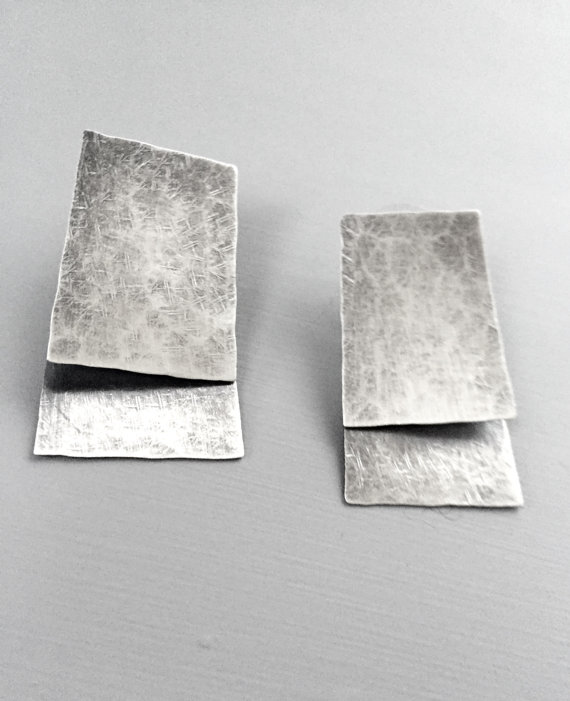 Double Layer keystone earrings , sterling silver, $140