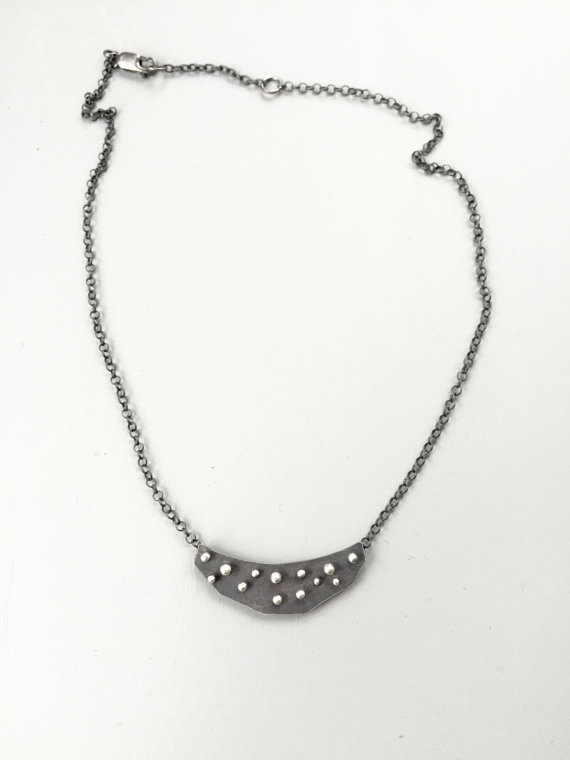 Dots choker silver necklace,  sterling silver, $110