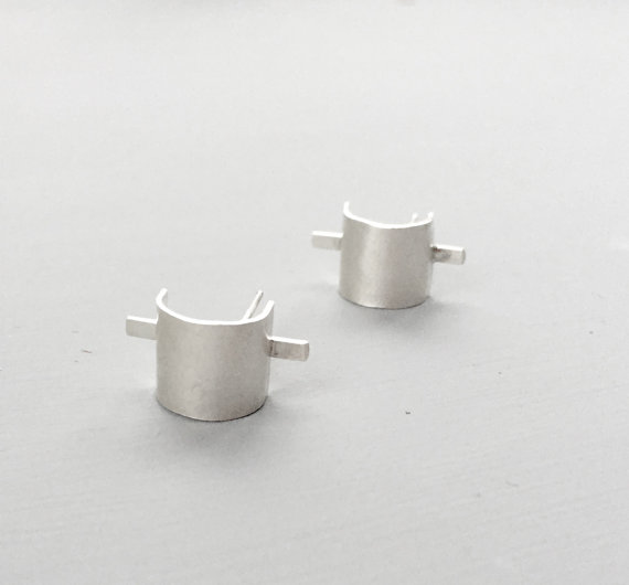 Cuff and bar earrings,  sterling silver, $72