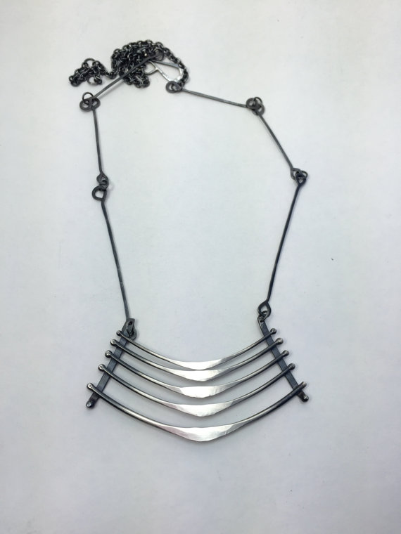 Large ribcage necklace,  sterling silver, $225