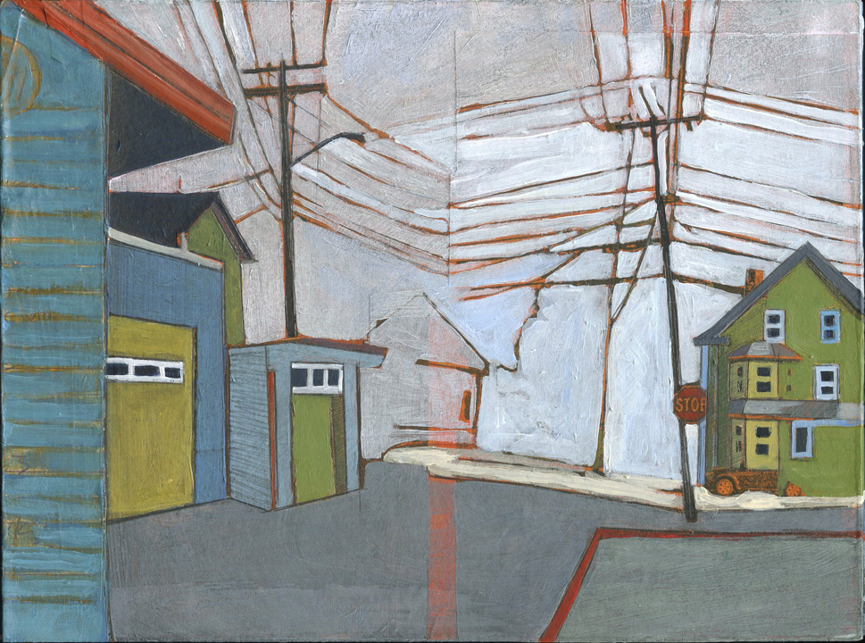 "Cox Street to Goat Hill,   acrylic and graphite over collage on panel, 8"" x 6"", sold"