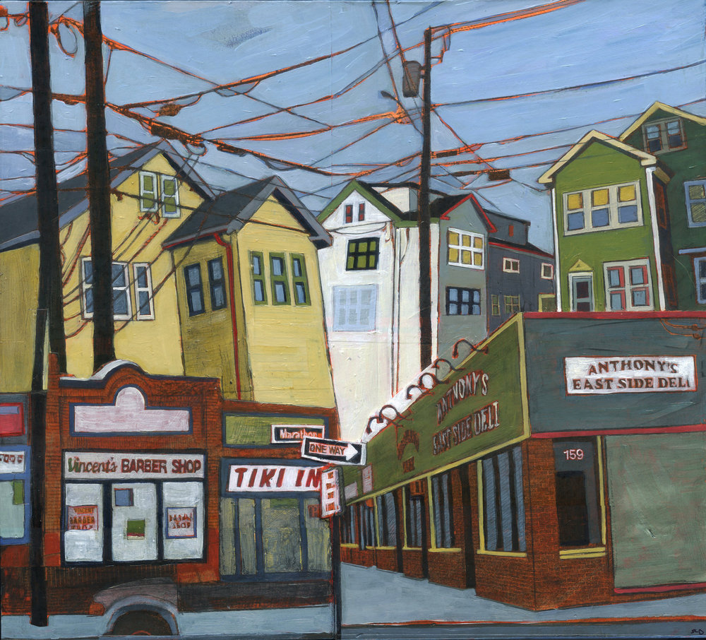 "Marathon and Vincent's,   acrylic and graphite over collage on panel, 13"" x 14 1/2"", sold"