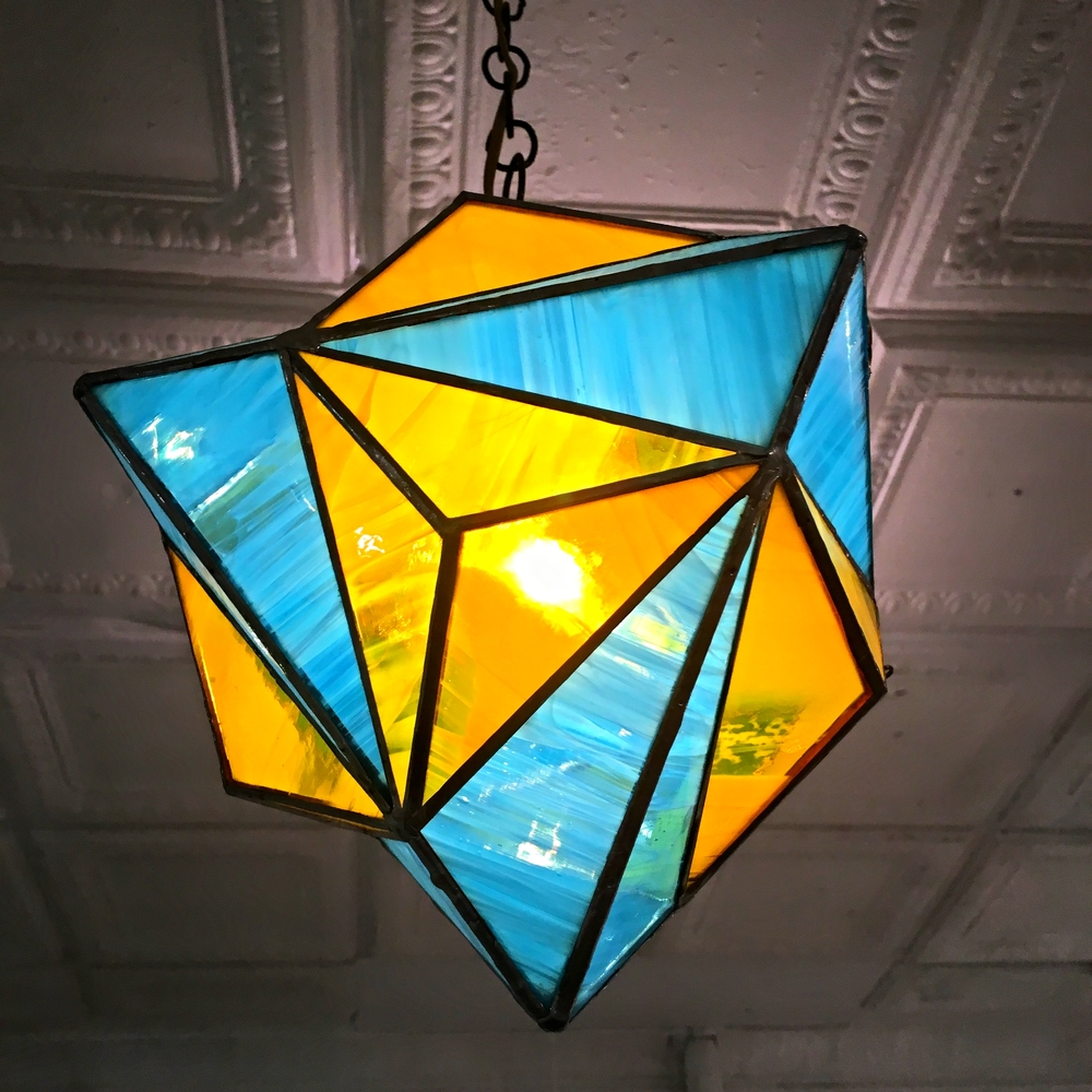 "Octahedron-Dodecahedron Compound , stained glass, 10"" diameter, $650"