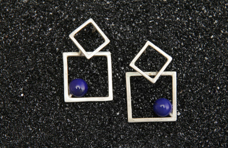 Double Square Earrings,  sterling sliver, lapis, other stones available