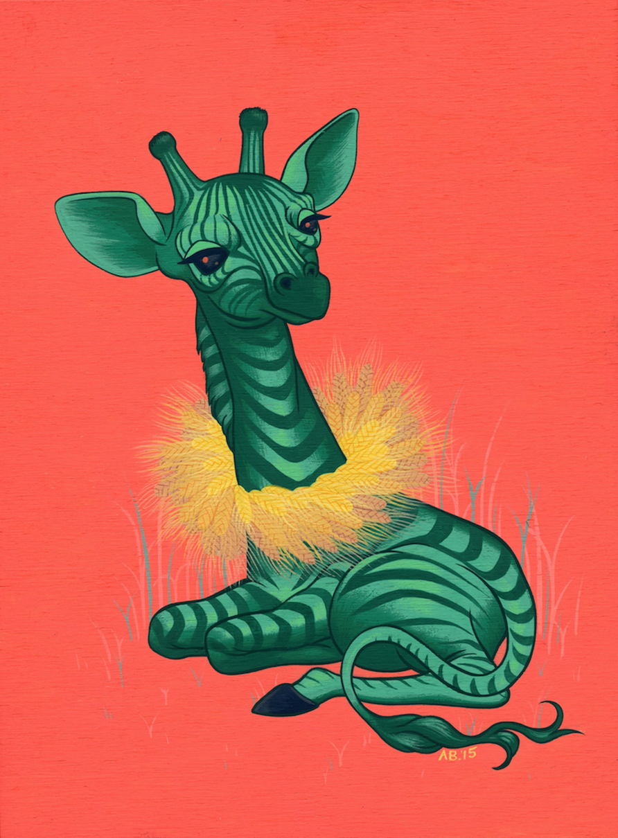 "Giraffable , acryla gouache on wooden cradled museum panel, 5"" x 7"""