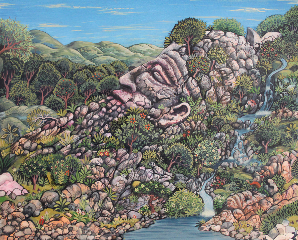 "Sleeping Giant , John Campbell, gouache on paper, 13"" x 16"" framed, $650"