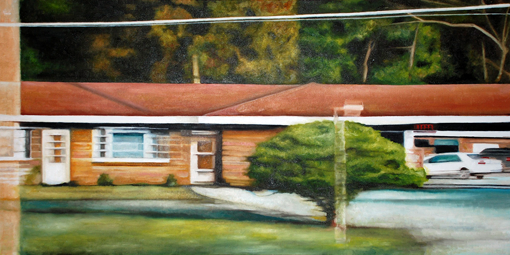 "Michigan Motel,  oil on canvas, 25 1/2"" x 49 1/2"" framed, sold"