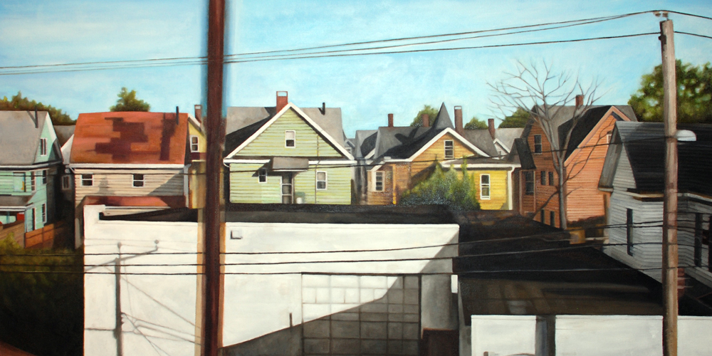 "Bridgeport 1 , oil on canvas, 28"" x 52"" framed, sold"