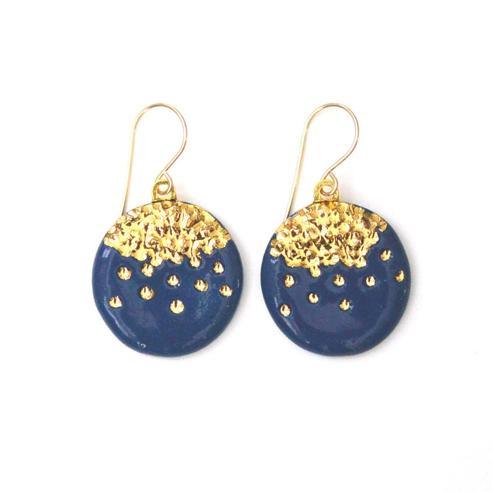 Navy Midnight Kiss Earrings,  porcleain, 22k gold, $120