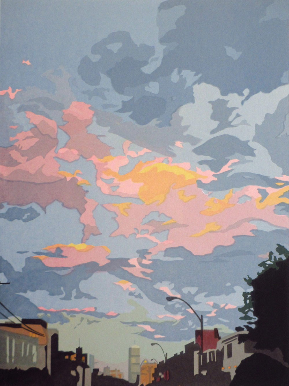 "Under a Boston Sky (5/45) , serigraph, 26"" x 20"", $450"