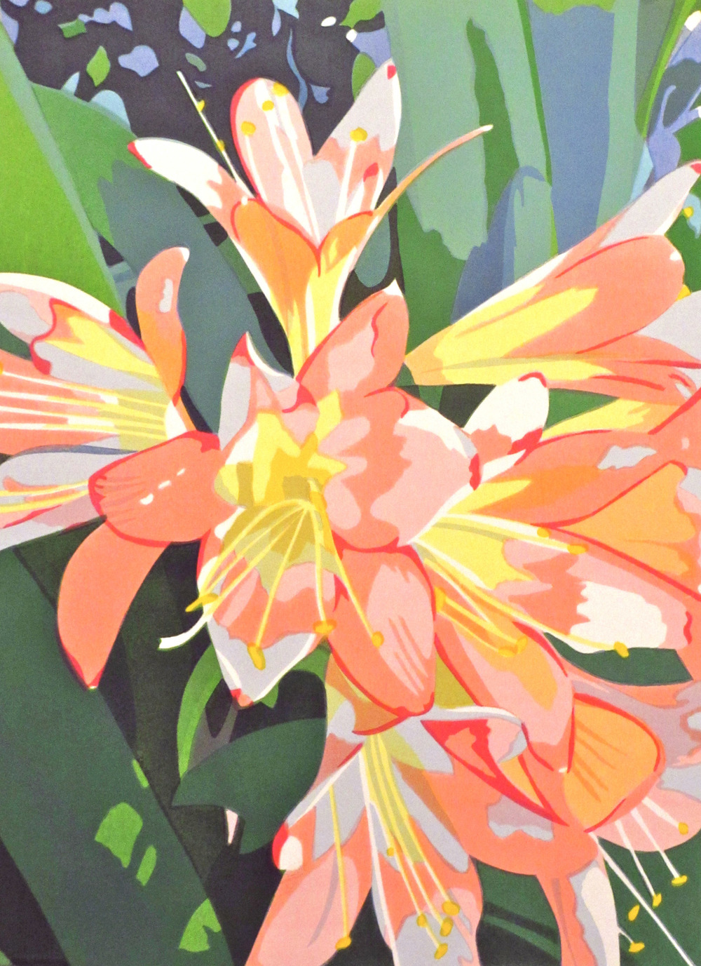 "Clivia in Bloom (3/45) , serigraph, 24 1/4"" x 19 3/4"" framed, $525; unframed 20"" x 15"", $290"