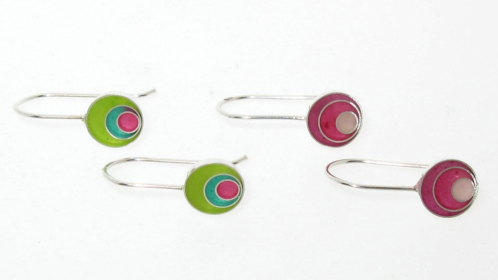 Off target round pendant drop earrings , sterling silver and resin in various colors, $65