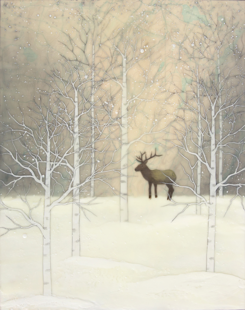 "Winter Elk , encaustic, rice paper, gouache, oil stick and map, mounted on birch panel with reclaimed beach fence frame, 20 1/2"" x 16 1/2"" framed, sold"