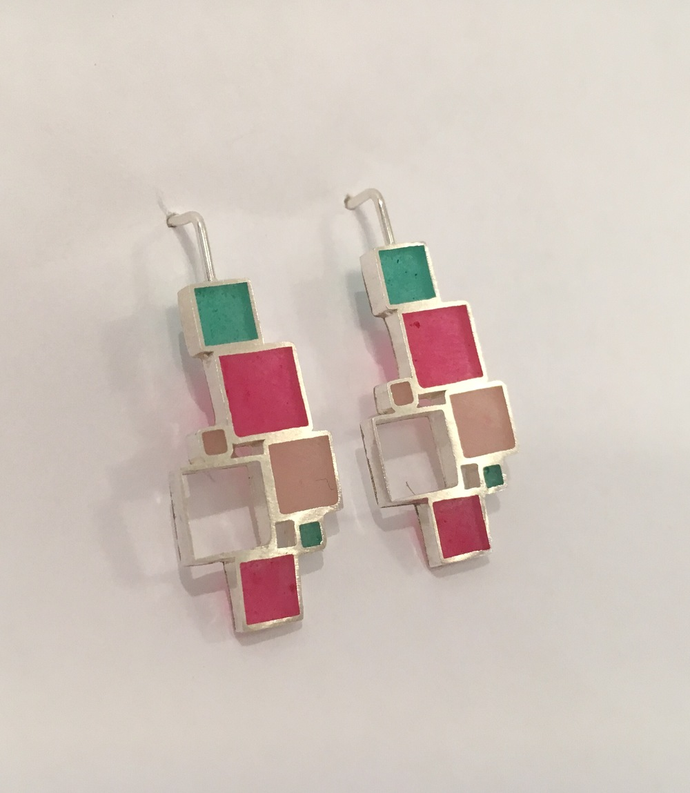 Open squares drop earrings , sterling silver and resin in various colors, $95