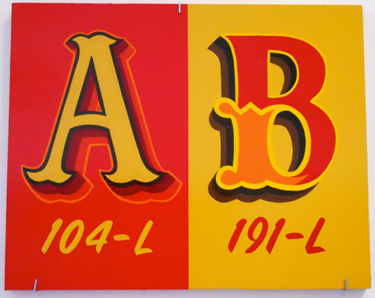 "Alphabets: AB , enamel on wood, 10"" x 12 1/2"""
