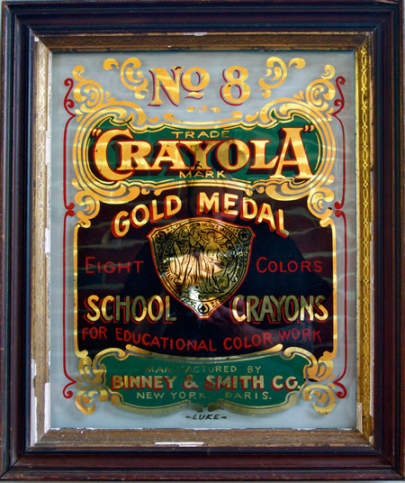 Crayola , enamel and distressed 23K gold leaf on glass