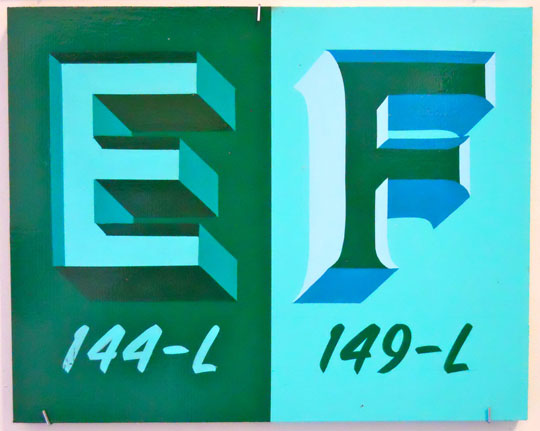 "Alphabets: EF , enamel on wood, 10"" x 12 1/2"""