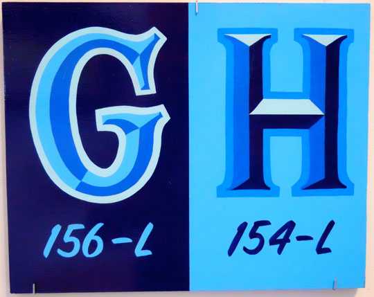 "Alphabets: GH , enamel on wood, 10"" x 12 1/2"""