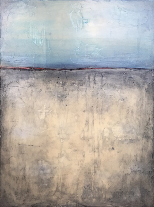 "Still,   encaustic on board, 25"" x 19"" framed ,  $1,200"